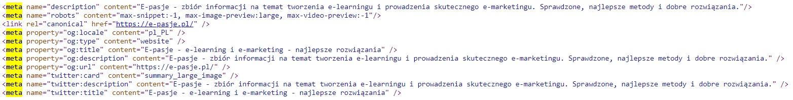 kod HTML kod źródłowy meta tagi